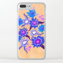 Butter Blue Blooms Clear iPhone Case