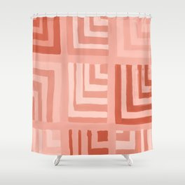 Painted Color Block Squares in Peach Shower Curtain