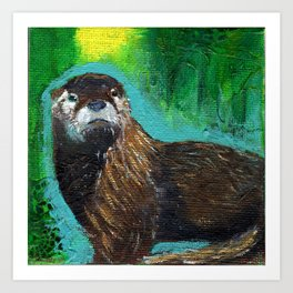 Otter Glow Art Print