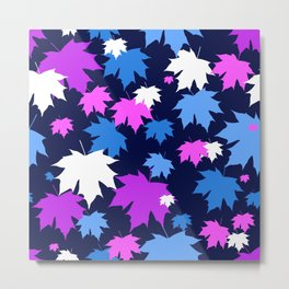 Autumn leaves in purple and blue colors Metal Print