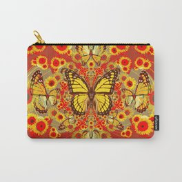 RED YELLOW MONARCH BUTTERFLY WORLD FLORALS MODERN ART Carry-All Pouch