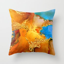 Sophisticated Glitter Gold and Blue Abstract Paint Texture Throw Pillow