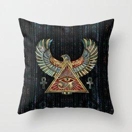 Eye of Horus - Wadjet  Gemstone and Gold Throw Pillow