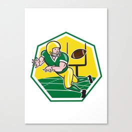 American Football Wide Receiver Catching Ball Cartoon Canvas Print