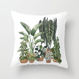 House Plants Watercolor Illustration 8 Throw Pillow