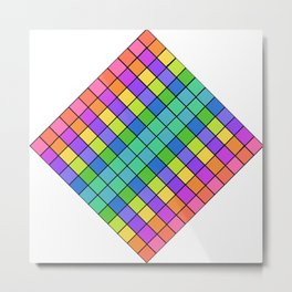 Diamond Pastel Chex Metal Print