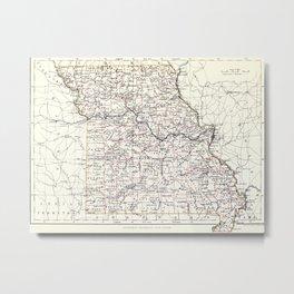 Vintage Map of Missouri (1883) Metal Print