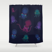 squid Shower Curtains featuring Squid by Steph Chen
