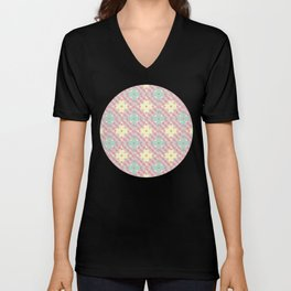 Polka Dot Patchwork Pattern in Green, Pink & Yellow Unisex V-Neck