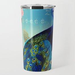 Peacock & Pink Roses  Travel Mug