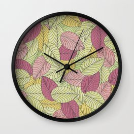 Vector Seamless Leaves Pattern Wall Clock