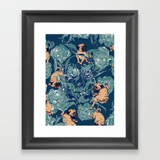 Climbing Pug & Floral Framed Art Print