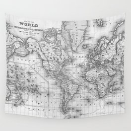 Black and White World Map (1864) Wall Tapestry