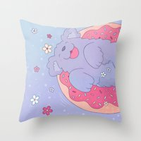 donut Throw Pillows featuring Donut by Nandi Appleby