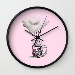 Pink Rain Coffee Wall Clock