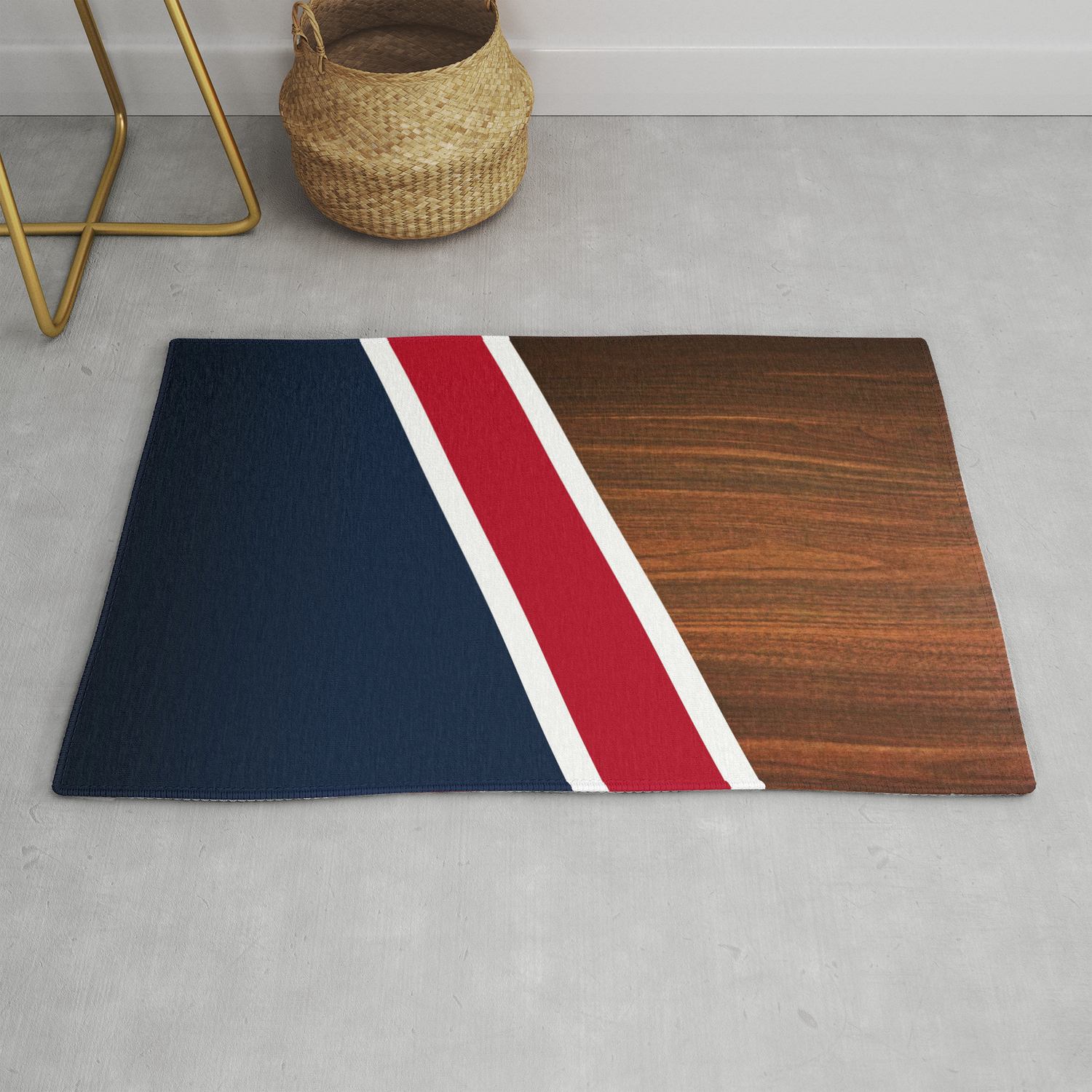 Wooden New England Rug By