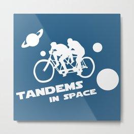 Tandems in Space in Blue Metal Print