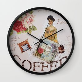 Collage happiness Coffee insprational quote motivation shabby chic by Ksavera Wall Clock