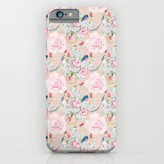 Watercolor Roses and Blush French Script iPhone 6s Slim Case