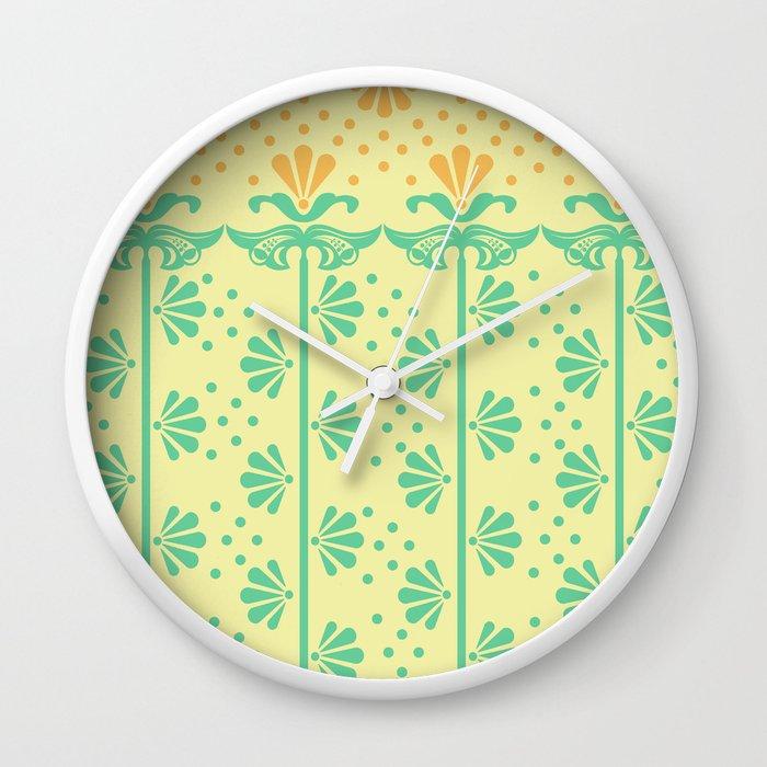 Vintage Art Deco floral pattern Wall Clock