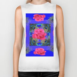 CONTEMPORARY PINK ROSES & PEACOCK FEATHERS BLUE ART Biker Tank