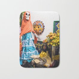 Day of the Dead Altar with Skeleton Lady in Blue Dress and Orange Shawl Bath Mat