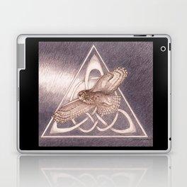 Great Horned Owl Over Celtic Triskeles Laptop & iPad Skin
