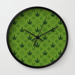 Green Marijuana pattern. Digital illustration. Vector illustration background Wall Clock