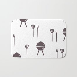Seamless pattern with grill and kitchen utensils. Bath Mat