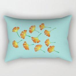 Gingko Leaves on Teal Rectangular Pillow