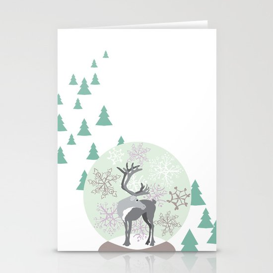 Reindeer Snowglobe Stationery Cards