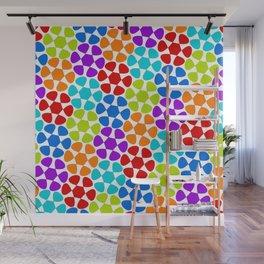 Multi-Coloured Flower Pattern Wall Mural