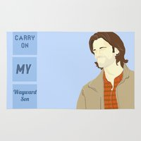 winchester Area & Throw Rugs featuring Sam Winchester by thefluidlines