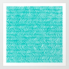 Turquoise Herringbone Lines Art Print