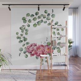 Watercolor Eucalyptus Wreath Wall Mural