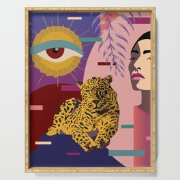 The Big Eye Leopard abstract Serving Tray