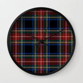 Minimalist Black Stewart Tartan Wall Clock
