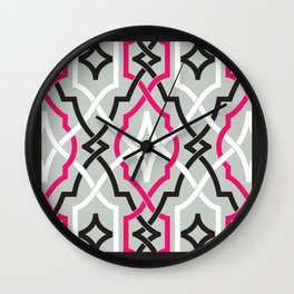 classic modern lattice in black, grey, white & pink Wall Clock