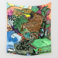 west coast Wall Tapestries featuring west coast. by Late Bloomer