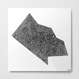 Typographic Arlington County Map Metal Print