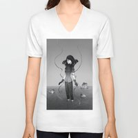 poetry V-neck T-shirts featuring Poetry by Fanni Budaházi