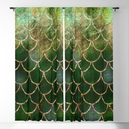 Green & Gold Mermaid Scales Blackout Curtain