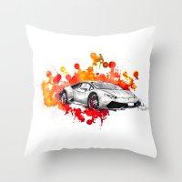 lamborghini Throw Pillows featuring Lamborghini Huracan by Claeys Jelle Automotive Artwork