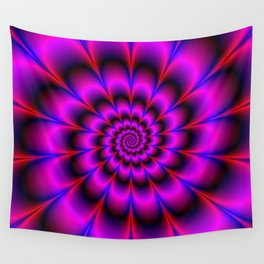 Spiral Rosette in Pink Blue and Red Wall Tapestry