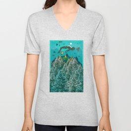 FLOATING FOREST BLUE Unisex V-Neck