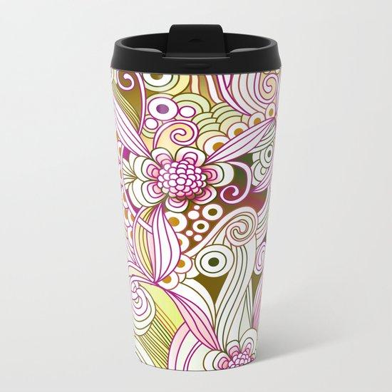 Flower fire | yellow, purple, green and ocre Metal Travel Mug