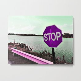 Iterations of a Stop Sign #4: Violet Metal Print