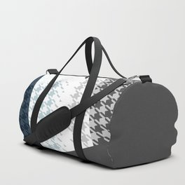Modern Houndstooth Reinterpreted A – Navy / Gray / White Checked Pattern Duffle Bag