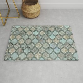Old Moroccan Tiles Pattern Teal Beige Distressed Style Rug
