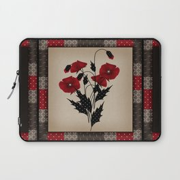 Flowers Art Poppies. Patchwork Laptop Sleeve